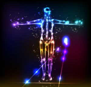 abstract human body background neon design